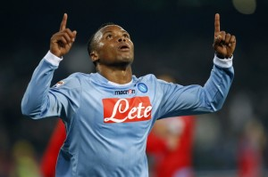 Napoli's Zuniga celebrates after scoring against Catania during their Italian Serie A soccer match in Naples